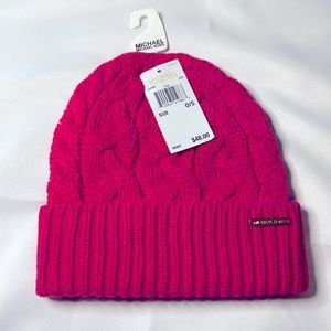 NWT Michael Kors Cable Knit Beanie - Electric Pink